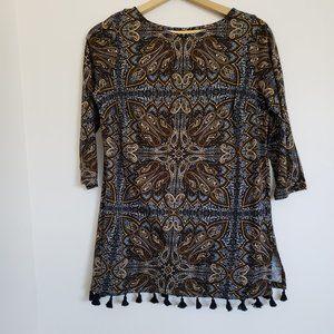 J. JILL Tasseled Paisley Print Knit Tunic Size XSP